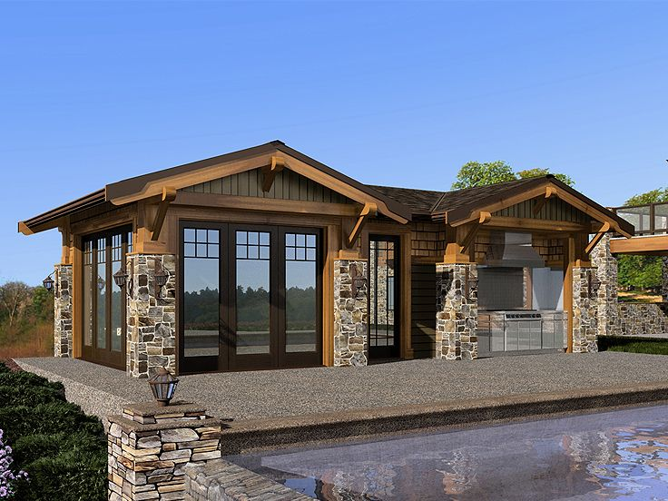 Pool house plans pool cabana with outdoor kitchen 035p for Outdoor cabana designs