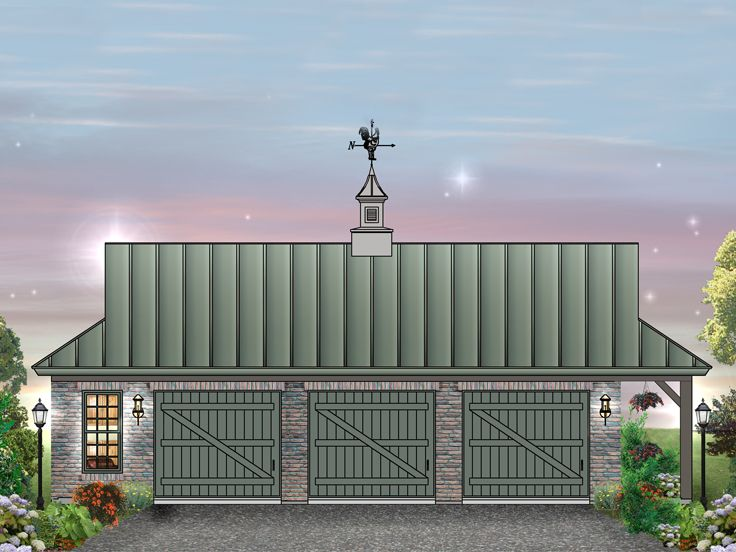 Country Stlye Home With Car Garage Plans on