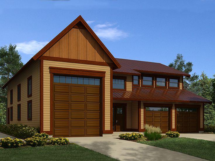 Tandem garage plans tandem garage plan with workshop rv for Large garage with living quarters