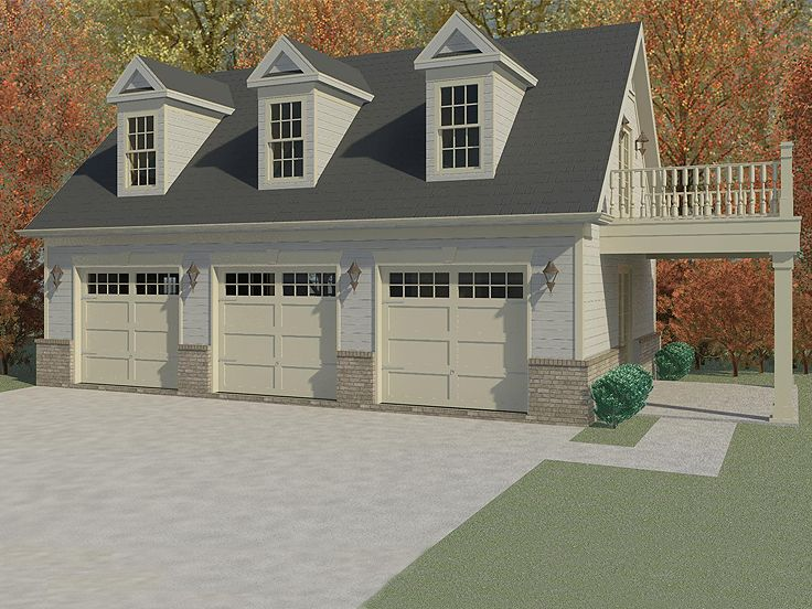 Garage apartment plans 3 car garage apartment plan with for Three car detached garage plans