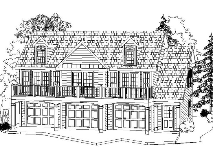 Carriage house plans 3 car carriage house plan 053g for Carriage house floor plans