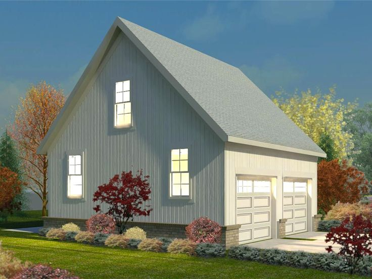 Two car garage plans double garage plan with gable roof for Gable roof garage