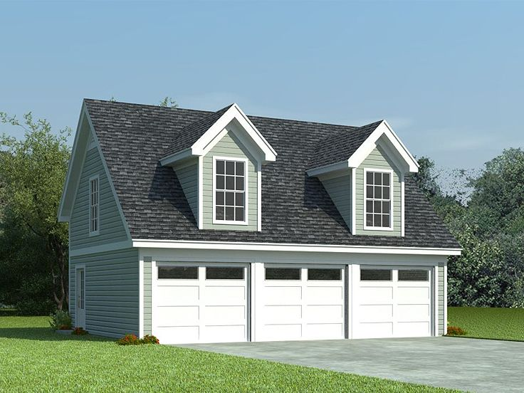 Garage loft plans 3 car garage loft plan with cape cod for Garage with dormers