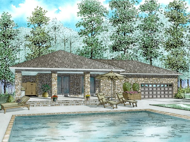 Unique garage plans unique garage apartment plan doubles for Pool house plans with garage