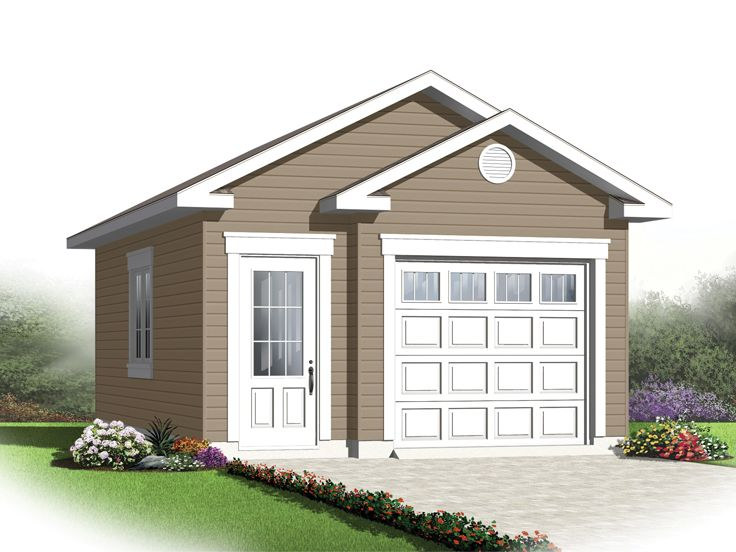One car garage plans traditional 1 car garage plan for Small house plans with 2 car garage