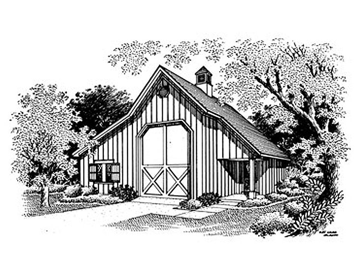 Outbuilding plans barn style rv garage with storage for Rv barn plans