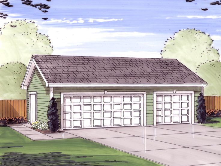 3 Car Garage Plans Three Car Garage Plan With Gable Roof