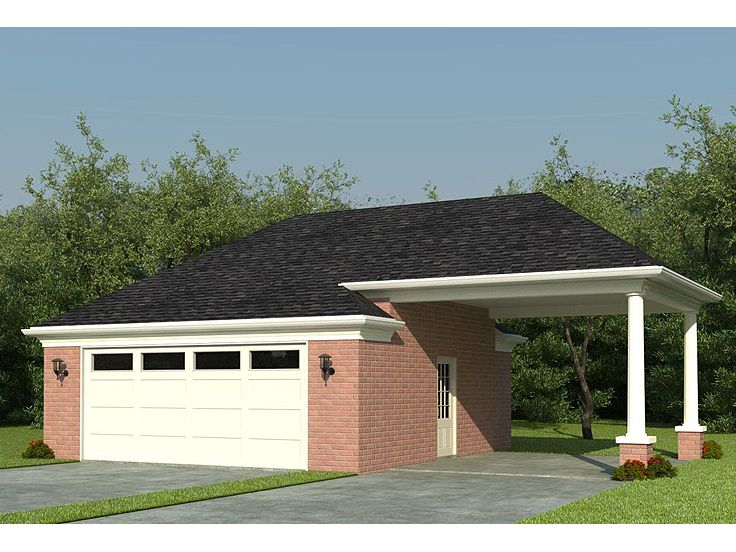 Garage plans with carports detached 2 car garage plan for How large is a 2 car garage