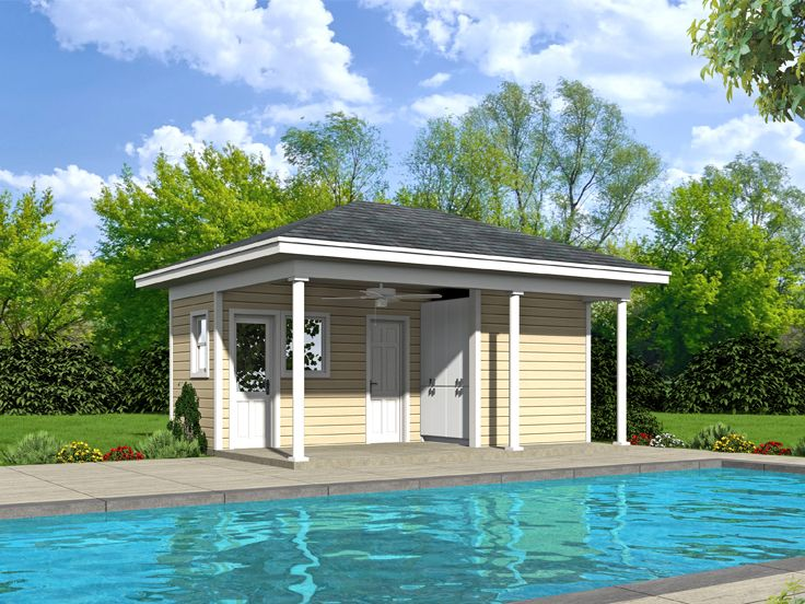 Plan 062p 0002 garage plans and garage blue prints from for Pool house plans