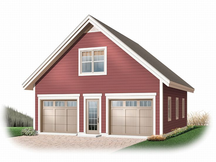 Garage loft plans detached 2 car garage loft plan 028g for Garage designs with loft
