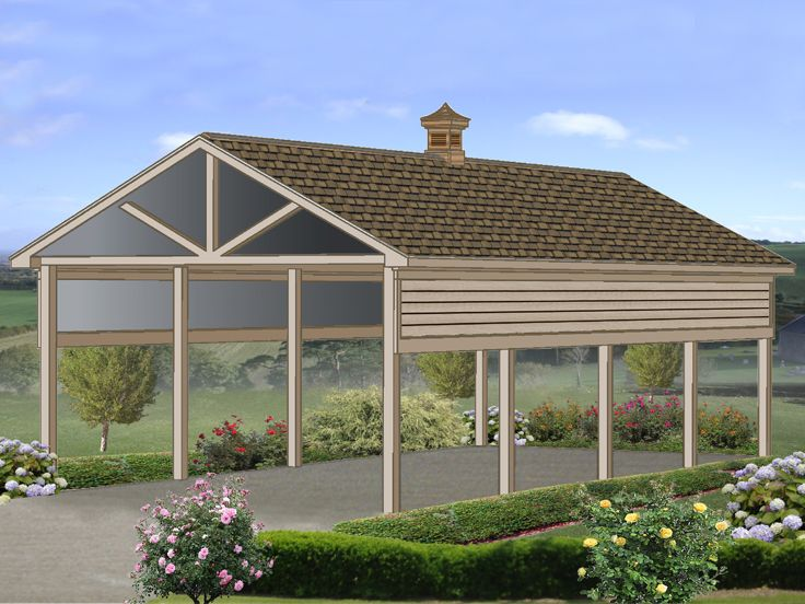 Carport plans rv carport plan with 14 ceiling 006g for Garage with carport plans