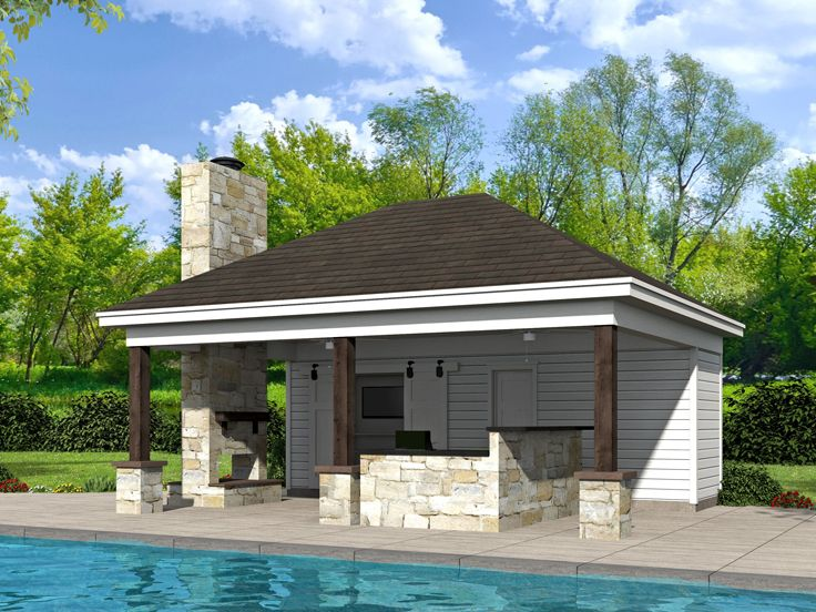 Pool House Plan, 062P-0006