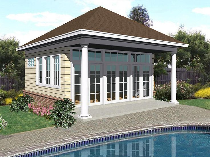 Plan 006p 0009 garage plans and garage blue prints from for Pool house plans with garage