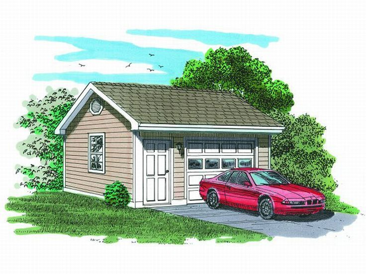 1 car garage plans detached one car garage plan 033g for Oversized one car garage