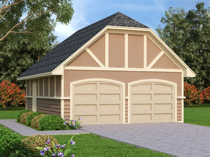 Garage Plans With Storage Tudor Style 2 Car Garage Plan