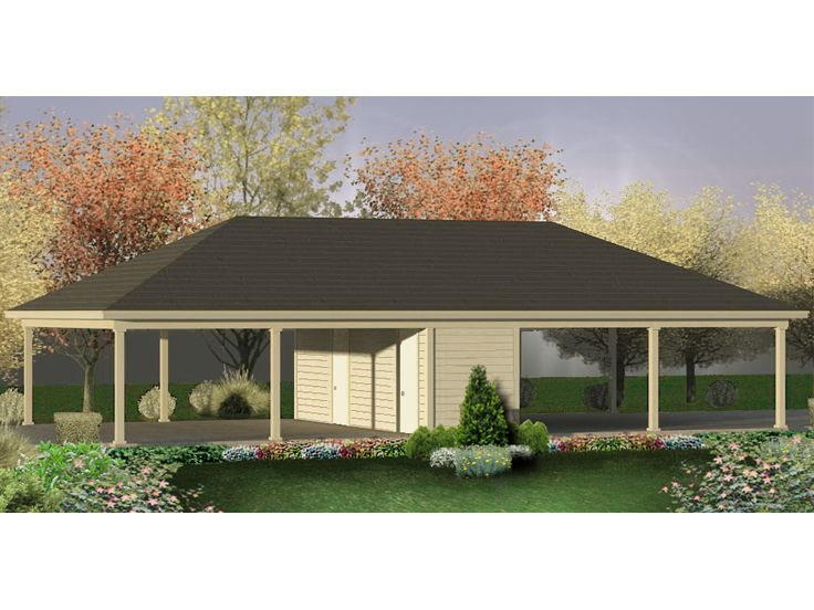 Carport plans 4 car carport plan with storage space for Carport with storage room