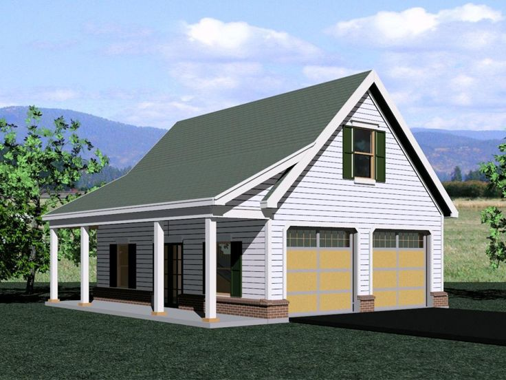 Two-Car Garage Loft Plan With Country
