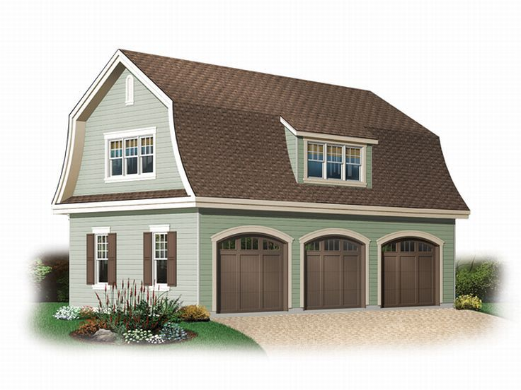 Unique garage plans unique car garage plan with gambrel for Barn loft apartment plans