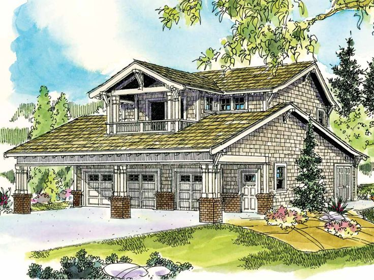 Carriage house plans craftsman style garage apartment for Single car garage with apartment above plans