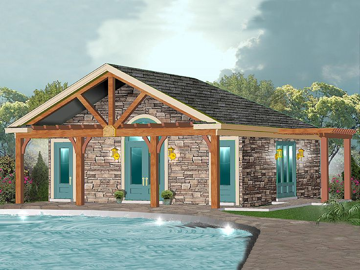 Plan 006p 0032 garage plans and garage blue prints from for Pool house plans with garage