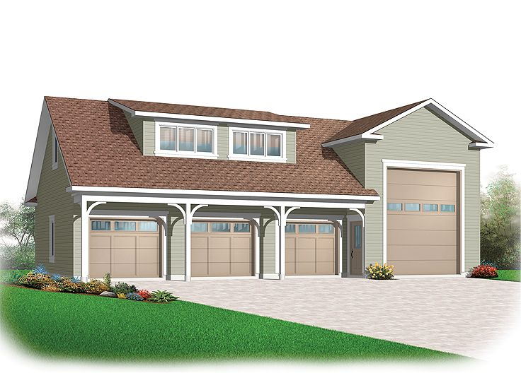 Rv garage plans rv garage plan with attached 3 car for Apartment homes with attached garage