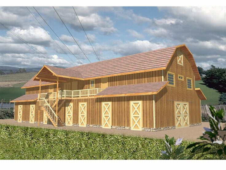 Outbuilding plans 9 stall horse barn with living for Barns with living quarters above