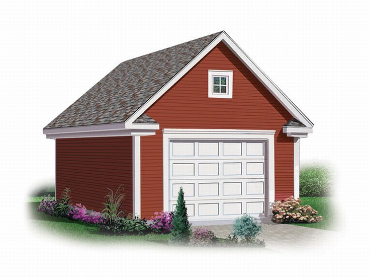 Garage loft plans detached 1 car garage loft plan 028g for Oversized one car garage