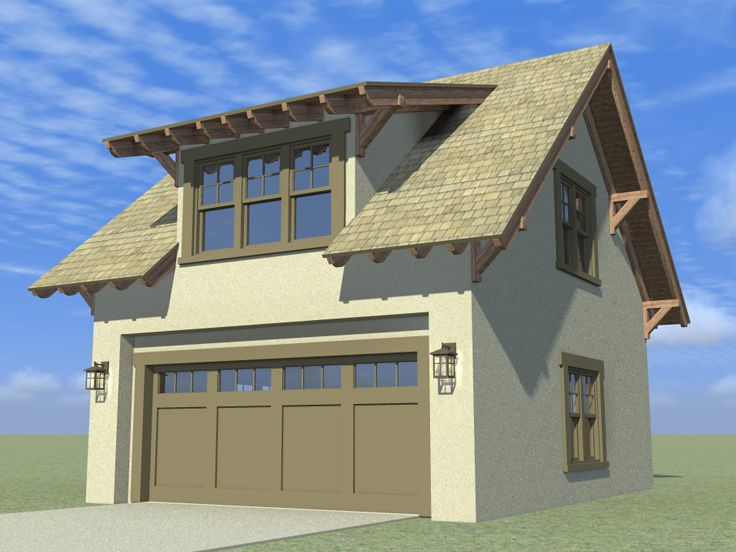 Garage loft plans craftsman style garage loft plan 052g for Garage with attic