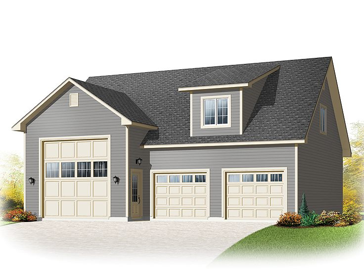 Rv garage plans rv garage plan with loft 028g 0052 at for Three car detached garage plans