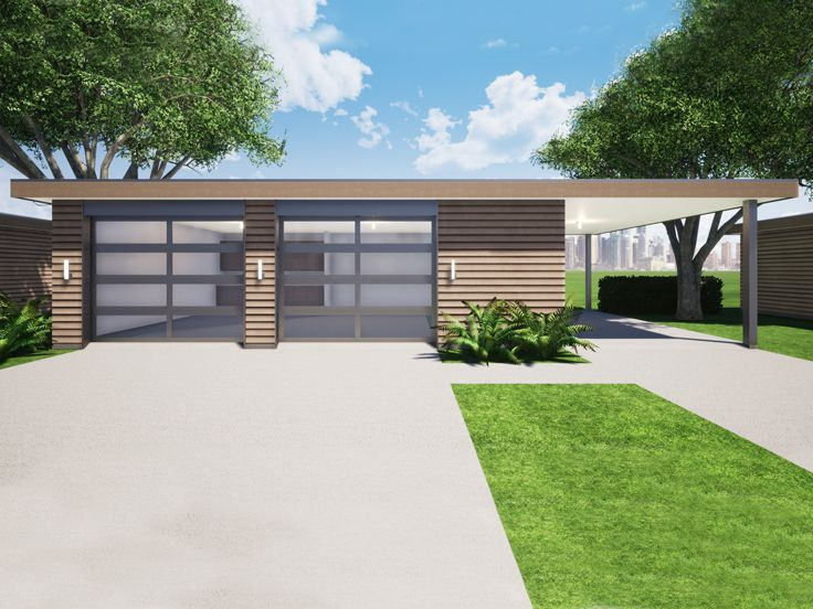 Garage Plan with Carport, 052G-0027