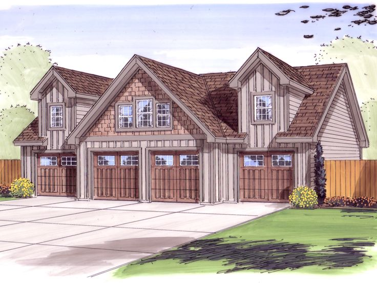 Garage loft plans 4 car garage loft plan design 050g for Four car garage house plans