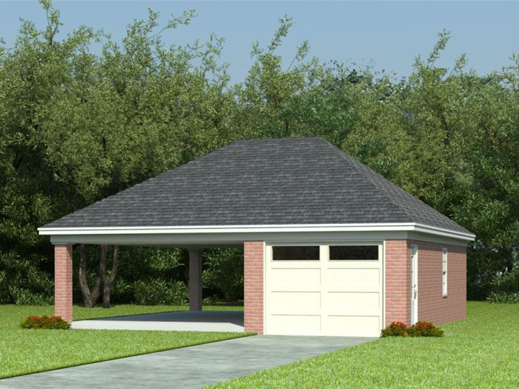 Garage Plans With Carports 1 Car Garage Plan With Car